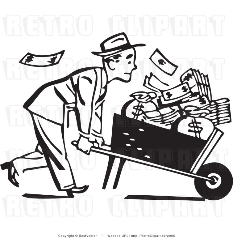 royalty-free-black-and-white-vector-clip-art-of-a-retro-businessman-pushing-a-wheel-barrow-full-of-cash-money-by-bestvector-2095-755x770