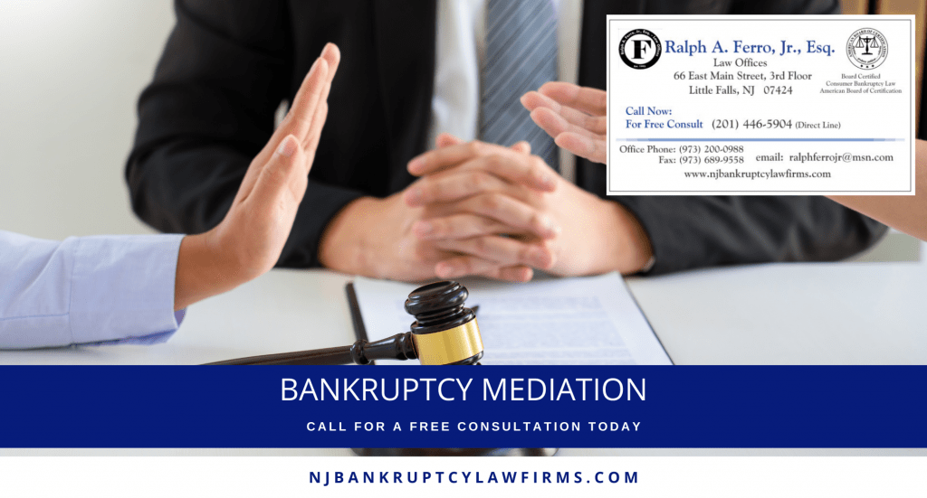 Bankruptcy Mediation Cover Photo of Bankruptcy Lawyer in the middle of a mediation meeting, branding for NJ Bankruptcy Lawfirms