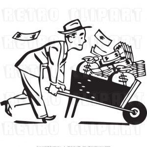 Man with cash in wheelbarrow